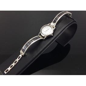 Reloj De Plata Para Dama Con Piedras De Zirconia Negro