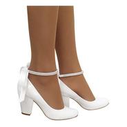 Sapato Boneca Branco Noiva Noivinha Daminha Salto Baixo