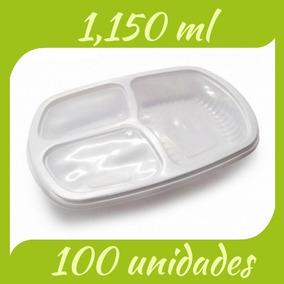 Marmita C/100un. 1150ml 3div. Embalagem Descartável Marmitex