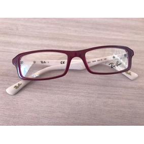 0b1203a4cdbb0 Armação Óculos De Grau Ray Ban Original - Cor Vinho E Branco