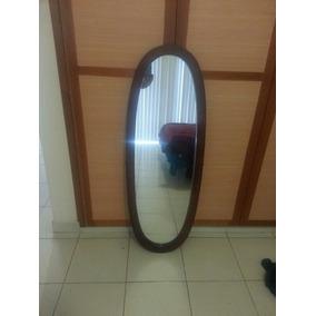 Espejo ovalado con pedestal madera cuerpo completo en for Espejo ovalado madera