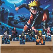 Kit Decoração Festa 6 Displays De Mesa Naruto Painel 100x70