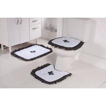 Jogo De Piso De Banheiro 3 P. Atoalhado Bordado Preto Branco