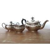 Aparelho De Chá, Prata Inglêsa. Bule, Açucareiro E Cremeira