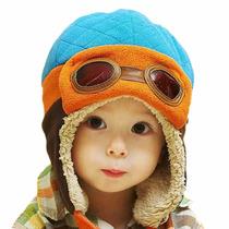 Touca Gorro Aviador Piloto Babê Infantil Criança Luxo Azul