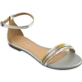 Sandália La Femme Specchio Prata Tiras Metalizadas