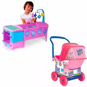 Berço Bercinho De Boneca Magic Toys+ Carrinho Baby Alive