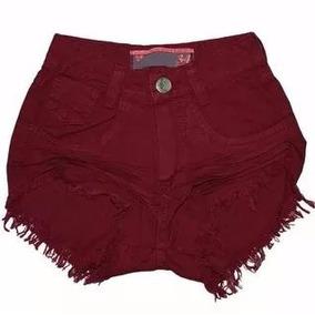 Shorts Jeans Feminino Cintura Alta Colorido 1 Botão Lycra