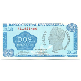 Billete 2 Bolívares - Tinoquito Octubre 5 De 1989 Serial Al7