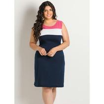 Vestido Azul Marinho Plus Size Sem Manga Tubinho Liquidação!