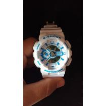 Relógio G Shock Ga 100 Branco Com Azul Esportivo Fretegrátis