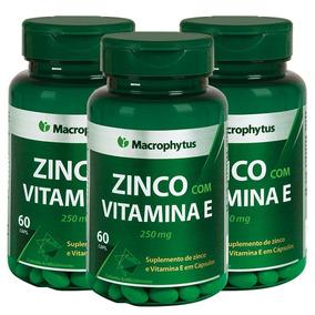 3 Potes De Zinco C/ Vitamina E 250mg Com 60caps Macrophytus