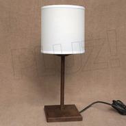 Lámpara Velador C/ Pantalla Tela Cilíndrica - Hierro Óxido