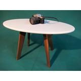 Mesa Ratona 70 Cm Ovalada Diseño Escandinavo Retro Vintage