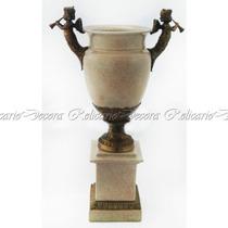 Vaso Porcelana Base E Alças Bronze Design Anjos Impecavel