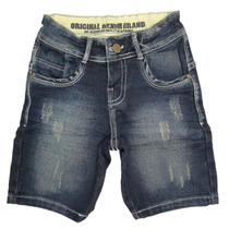 Bermuda Menino Jeans Escuro Detalhe Puído - Joy By Morena Ro