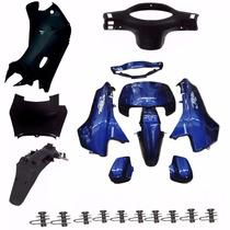 Kit Carenagem Completa P/ Biz 100 2004 Azul C/adesivad
