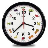 Relógio De Parede Decorativo Cozinha Branco Preto Frutas