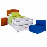 Cama Celta 1,5 Plazas Atlantis +sofá Cama+maderas+textil