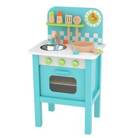 Set De Cocina Para Niños Azul En Madera Con Accesorios