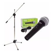 Microfono Profesional Shure + Pie De Microfono + Sop + Cable
