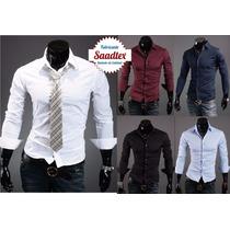 Camisa Hombre Elastizada Entallada Slim Excelente Calidad