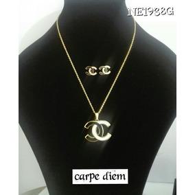 Juego Chanel, Collar, Dije Y Aretes Color Oro.