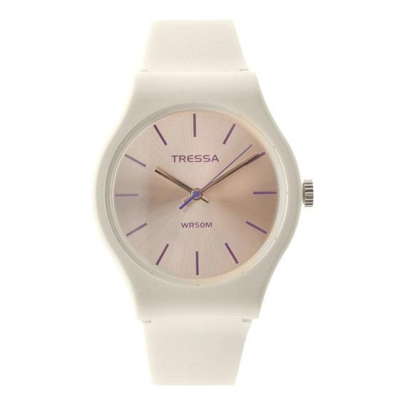 Reloj Mujer Tressa Fun Silicona White Pearl Sumergible Tr002