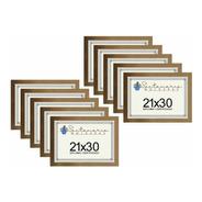 Kit 10 Molduras Porta Diploma Certificado A4 21x30 Dourado