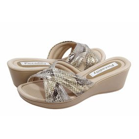Sandalias Mujer Piccadilly Fashion Confort Reptil Taco 5cm