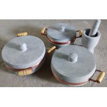 Kit Com 3 Panelas De Pedra Sabão + Socador De Alho