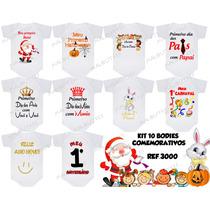 Body Comemorativos Dia Das Mães Pais Natal Páscoa Kit 10 Uni