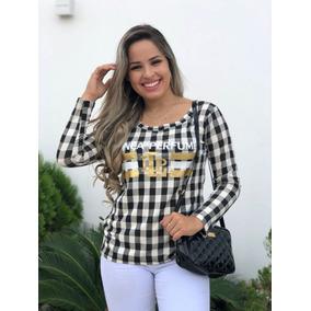 Kit 05 Blusas T-shirt Estampada Choker Flor Xadrez Longline