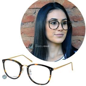 Armação Óculos Grau Feminino Retrô Redondo Quadrado Preto