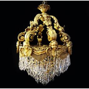 Lustre Estilo Império Em Cristal Corpo Em Bronze