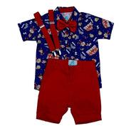 Roupas De Bebe Menino Camisa Social Infantil Tematica Circo Com Bermuda  Gravata Infantil Suspensorio
