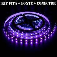 Kit Fita Led Ultravioleta Luz Negra Serigrafia Aquário