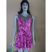 Vestido Rosa Com Tela Transparente