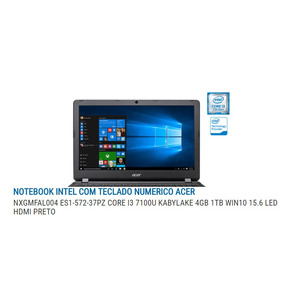 Notebook Acer Intel I3 7100u - 1tb Hd - 4gb Ram 15.6led Hdmi