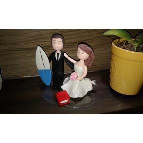 Topo De Bolo Em Biscuit Casal De Noivinhos Casamento