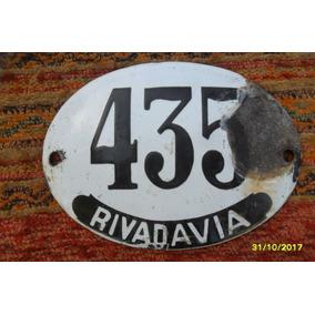 Antiguo Cartel Número Domiciliario Enlozado Rivadavia 435