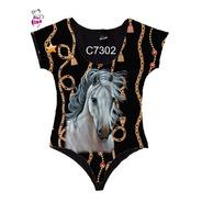 Body Manga Curta Feminino Cavalo Branco C7302