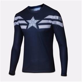 Camisa Compressão Capitão América Pronta Entrega Manga Longa