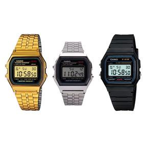 Relógio Casio Digital Aço Vintage Unisex Prata Preto Dourado