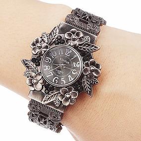 Relógio Feminino Bracelete Punk Rock Gótico Retro Preto