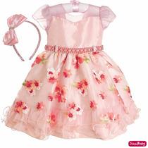 Vestido Festa Infantil Floral Luxo Princesa Dama Com Tiara