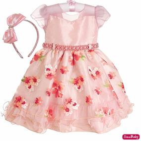 Vestido Infantil Floral Jardim Encantado Daminha E Tiara