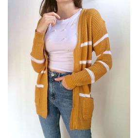 Saco Sweater Cardigan Rayado Colores Con Bolsillos