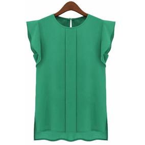 Blusa Semiformal Casual Verde Oficina Moda Coreana