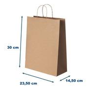 Sacola Papel Kraft G- Fundo Largo 23,5x30x14,50 - Liso 100u